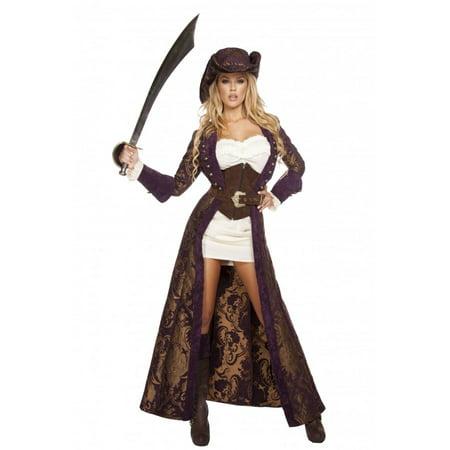 Purple Pirate Costume (Womens 6pc Decadent Pirate Diva)