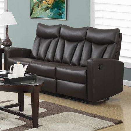 MONARCH - RECLINING - SOFA BROWN BONDED LEATHER Brown Contemporary Reclining Sofa