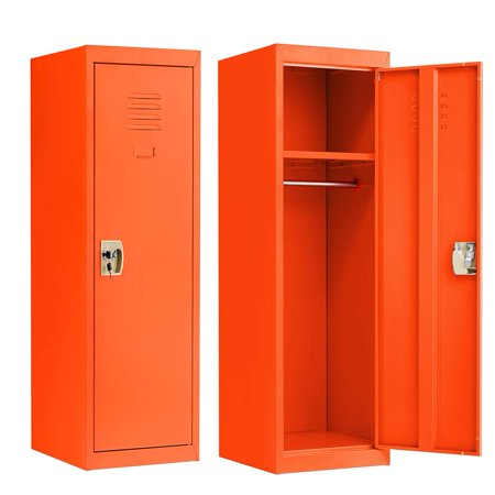 Locker for Kids Metal Locker for Bedroom,Kids Room,Steel Storage Lockers for Toys,Clothes, Sports Gear (49 Inch, Orange)