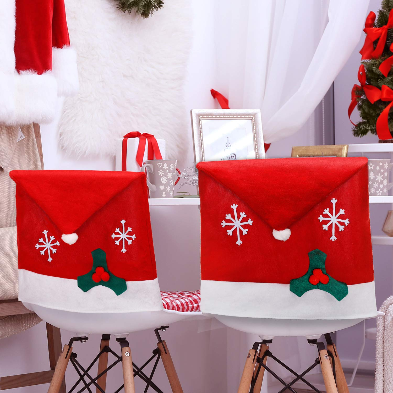 1pc Christmas Chair Covers Decor Santa Claus Red Hat