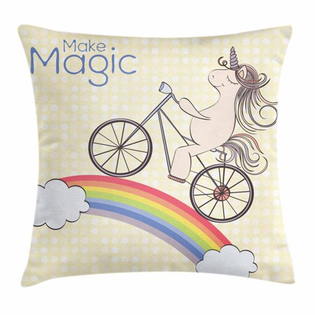 Unicorn Party Throw Pillow Cushion Cover, Polka Dot Background with Hand Drawn Magical Animal Riding Bicycle on Rainbow, Decorative Square Accent Pillow Case, 24 X 24 Inches, Multicolor, by Ambesonne (Polka Dots Background)