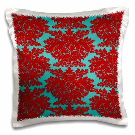 3dRose Elegant Bold Red And Aqua Blue Trendy Color Scheme Damask Pattern, Pillow Case, 16 by 16-inch