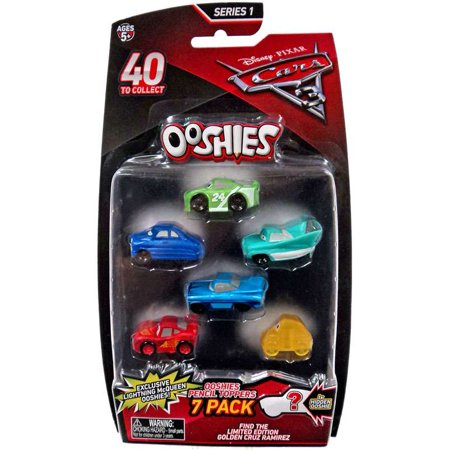 Disney   Pixar Ooshies Series 1 Brick Yardley  Doc Hudson  Flo  Ramone  Crash Damaged Mcqueen   Translucent Luigi 7 Pack