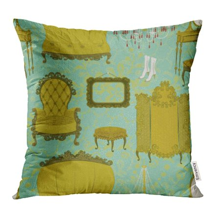 - ARHOME Room with Antique Furniture Chair Ornate Old French Luxury Victorian Vintage Pillow Case Pillow Cover 16x16 inch Throw Pillow Covers