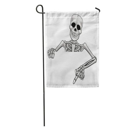KDAGR Hallowen Skeleton Halloween Cartoon Character Peeking Over Sign and Pointing Garden Flag Decorative Flag House Banner 12x18 - Halloween Characters Cartoon