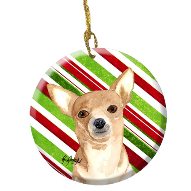 Candy Stripe Chihuahua Christmas Ceramic Ornament