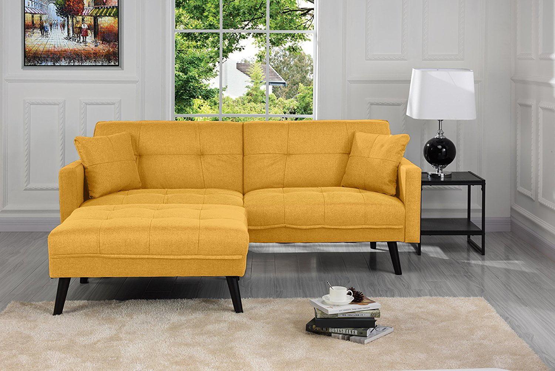 Sofamania Mid Century Modern Linen Fabric Futon Sofa Bed
