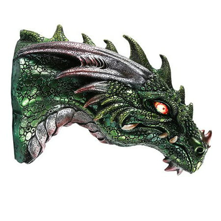 Medieval Times Green Dragon Wall Plaque With LED Illuminated Eyes Sculpture Plaque Home Decor ()