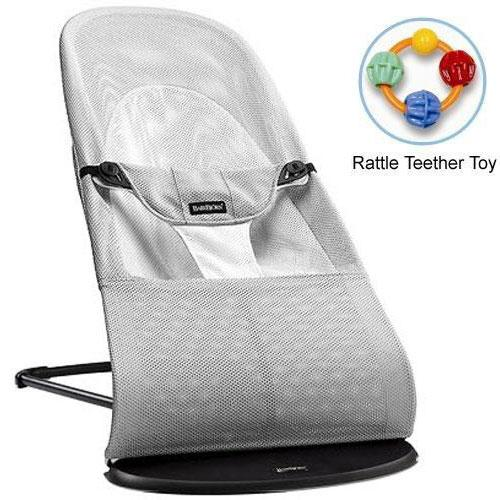 Baby Bjorn 005029US Bouncer Balance Soft- Mesh Silver White with Rattle Teether by BabyBj%C3%B6rn