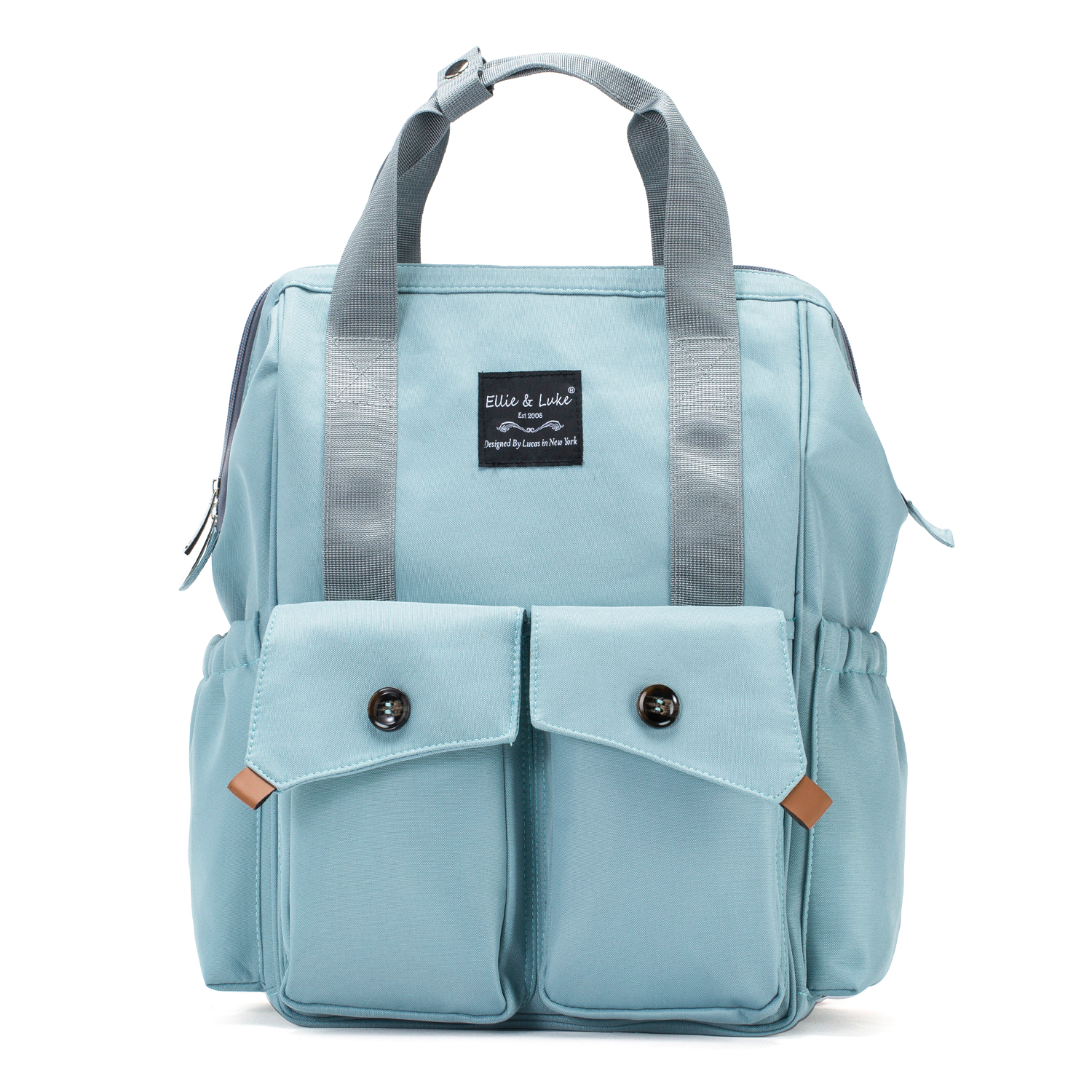 SoHo Collections, Designer Unisex Tote Diaper Bag Backpack with Stroller Straps, 3 Piece Set, Rockaway Beach (Aqua)