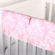 The Peanut Shell Baby Crib Rail Guard - Pink Floral Damask Print - 100% Cotton Sateen Cover, Polyester Fill
