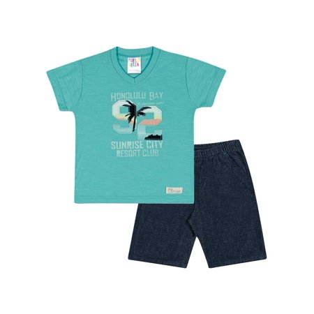 7e643bb8f3ce Pulla Bulla - Baby Boy Outfit Graphic Tee V-Neck Shirt and Shorts ...