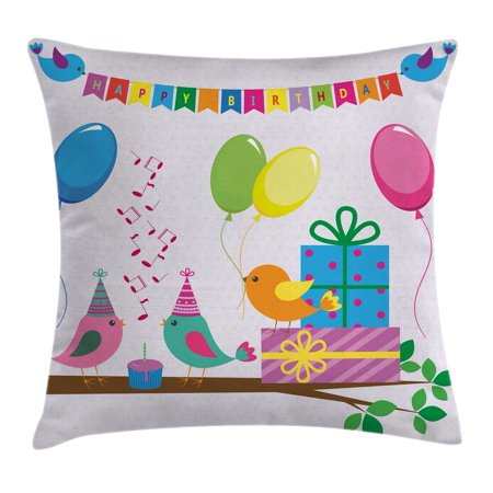Birthday Decorations for Kids Throw Pillow Cushion Cover, Singing Birds Happy Birthday Song Flags Cone Hats Party Cake, Decorative Square Accent Pillow Case, 16 X 16 Inches, Multicolor, by Ambesonne - Singing Happy Birthday