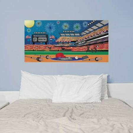 Mona melisa designs peel and stick baseball mural for Peel and stick wallpaper walmart