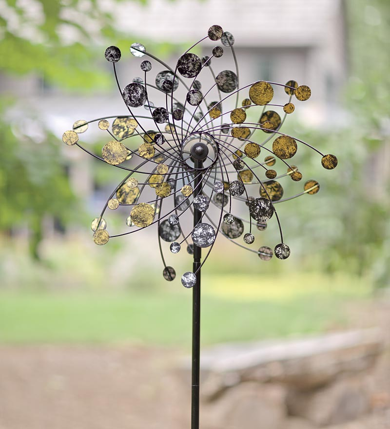 Gold And Silver Dots Metal Wind Spinner for Gardens