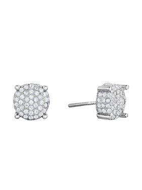 Sterling Silver Micro-pave Set Cz Round Stud Screwback Earrings for Men or Women