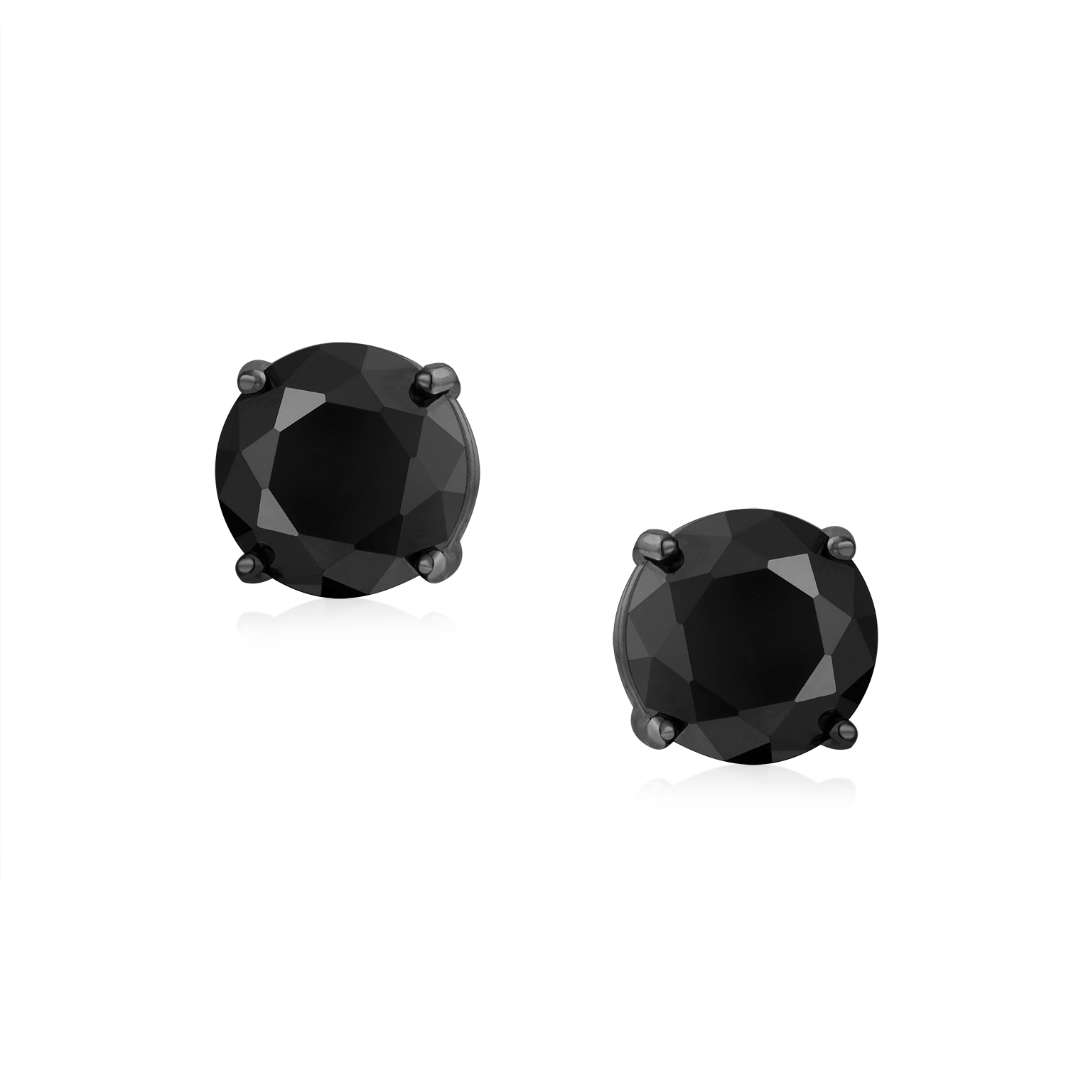 Solitaire Cz Screw Back Stud Earrings on 925 Sterling Silver Rhodium Plated