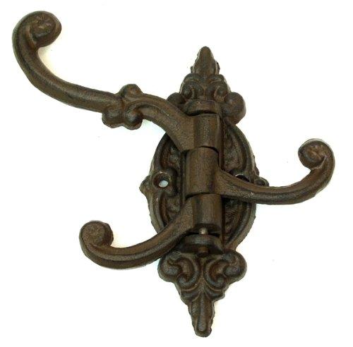 0170-01658 Set of Three Cast Iron Black Victorian 3-Swing Arms Wall Hooks