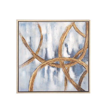 Decmode Contemporary 32 X 32 Inch Abstract Framed Canvas Wall Art With Polystone Accents, Blue (Contemporary Canvas Art)