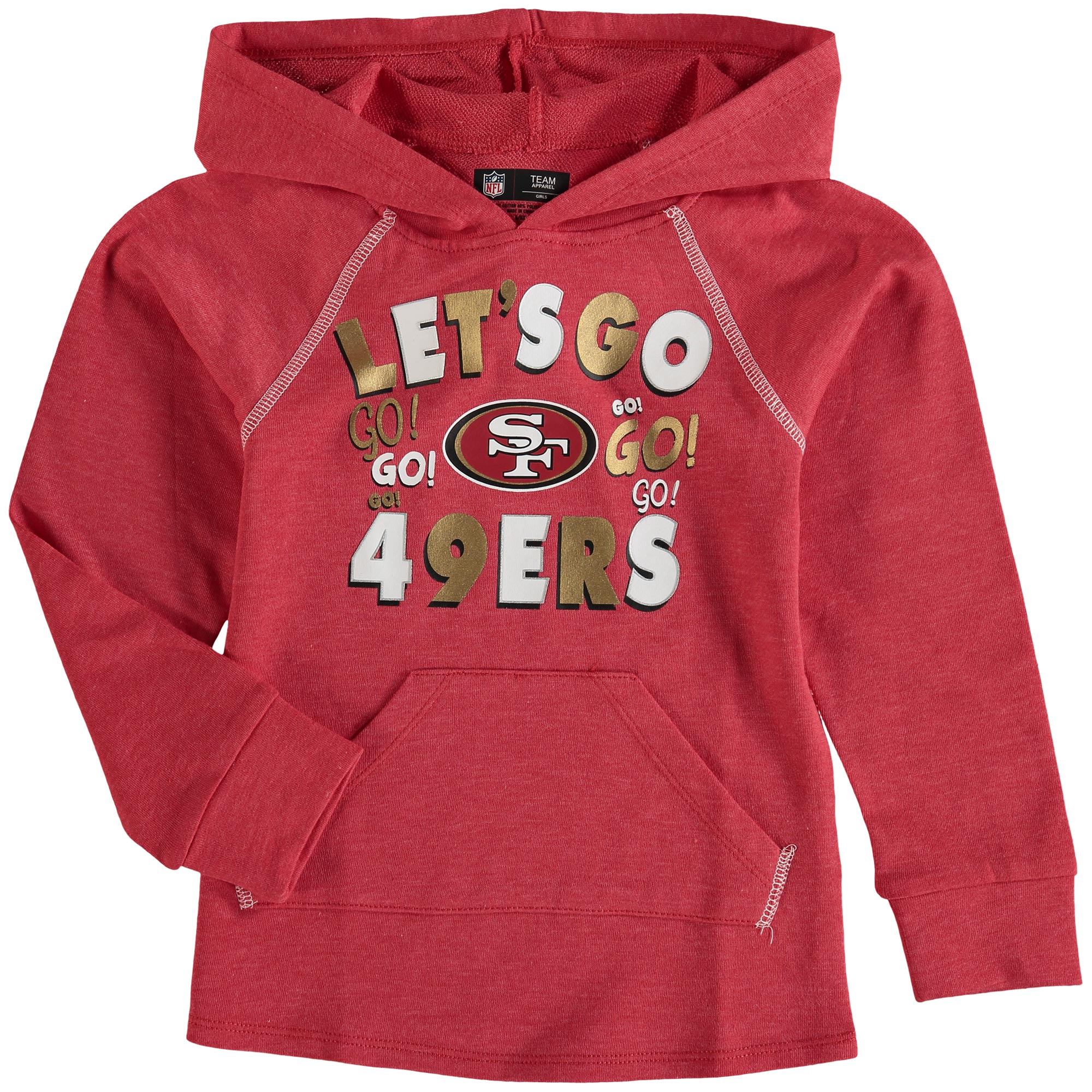 San Francisco 49ers 5th & Ocean by New Era Girl's Youth Let's Go Pullover Hoodie - Scarlet