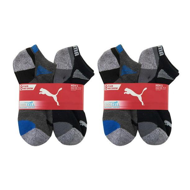 Puma Men's (Size 6-12) Dry Cell Moisture Wicking 16 Pair No Show Black Socks