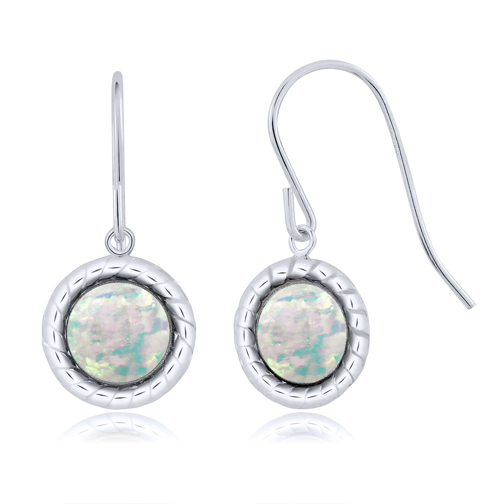 1.30 Ct Round White Simulated Opal 925 Silver bezel Stud Earrings 6mm