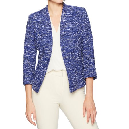 Kasper NEW Iris Blue White Womens Size 16 Tweed Opem-Front Jacket ()