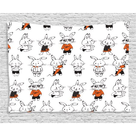 Funny Decor Tapestry, Cute Retro Bunny Rabbit with Costumes Jack Hare Funky Carrot Sketch Print, Wall Hanging for Bedroom Living Room Dorm Decor, 60W X 40L Inches, Orange White, by Ambesonne