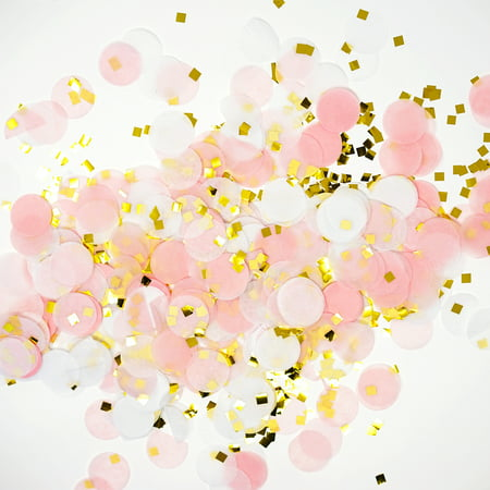 Premium 1-Inch Round Tissue Paper Party Table Confetti - 50 Grams -  Pink, White, Gold Mylar Flakes - Table Confetti
