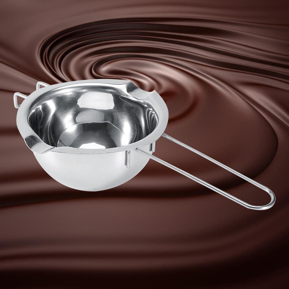 Stainless Steel Double Boiler Pots Universal Insert Melting Pot-Double Boiler Insert, Double Spouts, Heat Resistant Handle-Chocolate Butter Cheese Caramel Melting Pots, Baking Tools