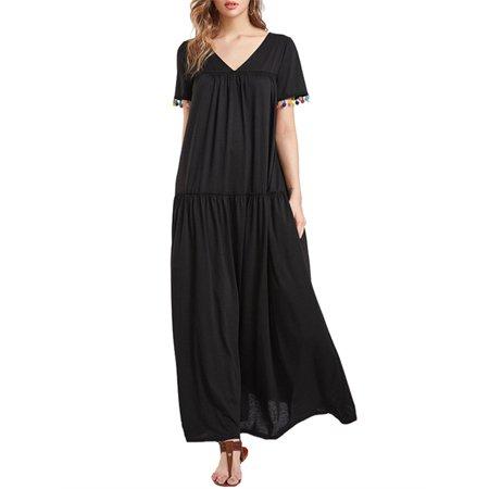 Celmia Women's Short Sleeve V-neck Loose Casual Long Dresses