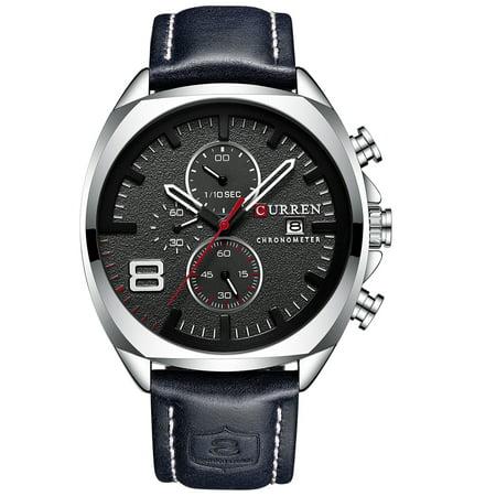 CURREN 8324 montre de sport de quartz d'homme de marque de mode décontracté mâle multi-fonction montre-bracelet étanche - image 1 of 7