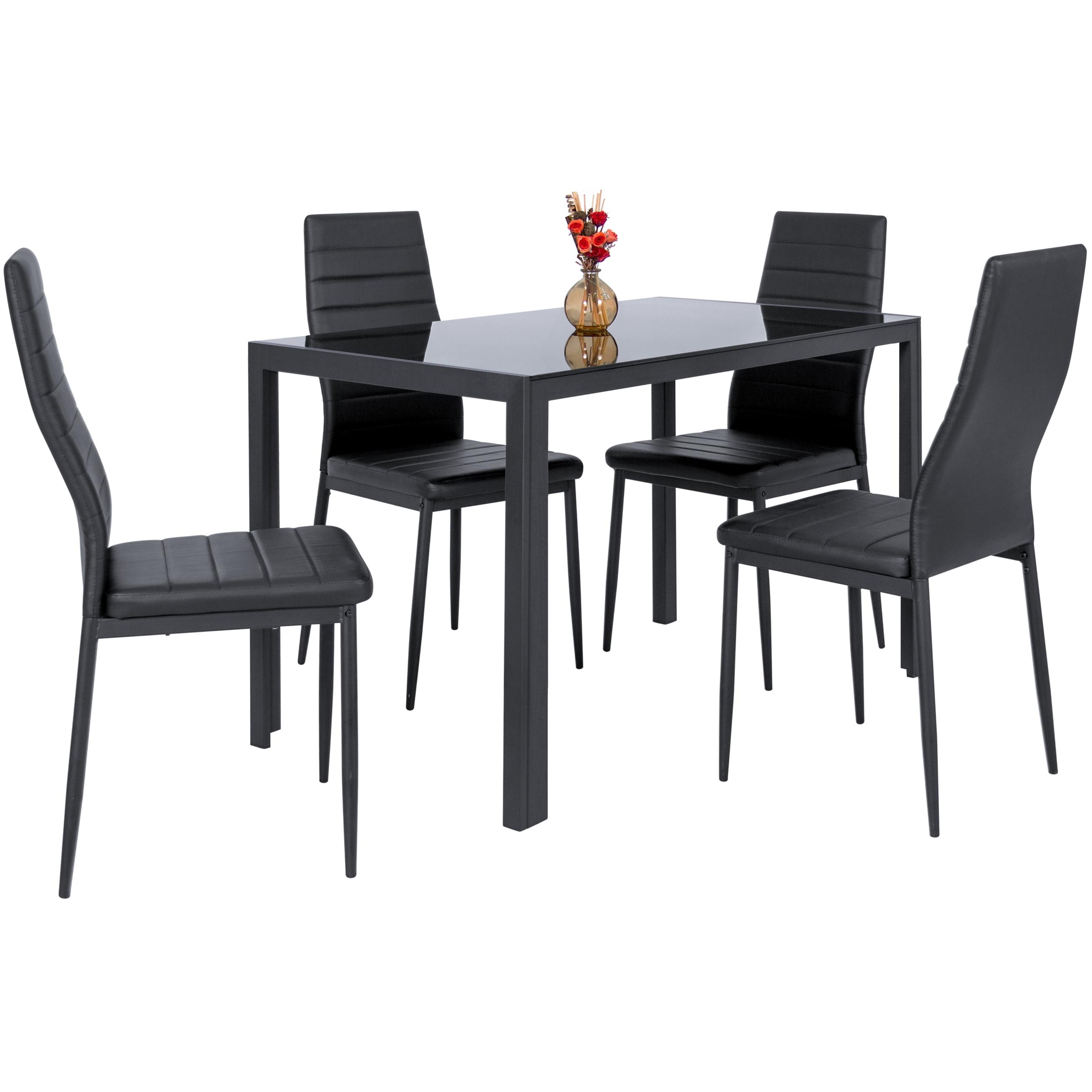 Zimtown modern dining table set 4 chair glass metal kitchen room breakfast furniture walmart com