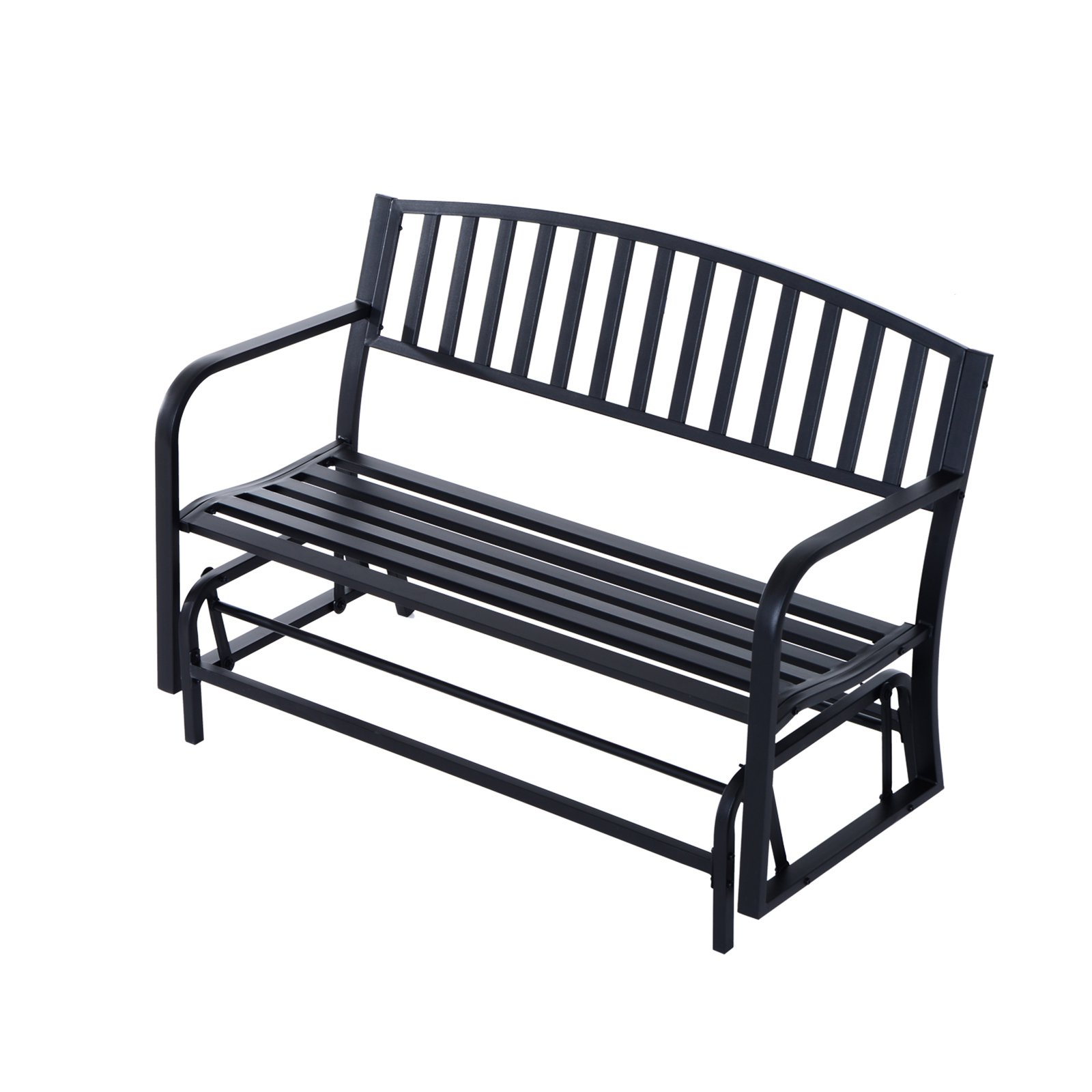 Outsunny 50 in. Steel Patio Swing Glider Bench - Black