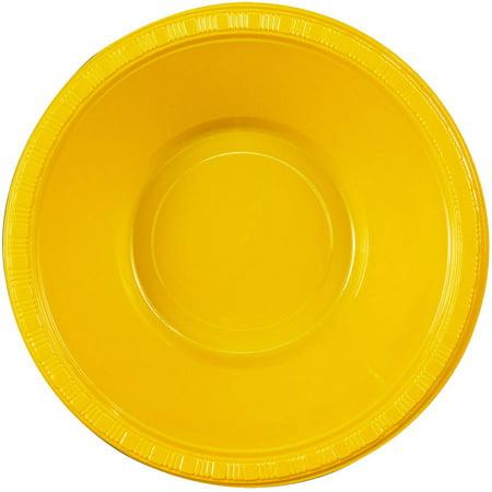School Bus Yellow, Yellow, Plastic Bowls, 20pk - Yellow Bowls