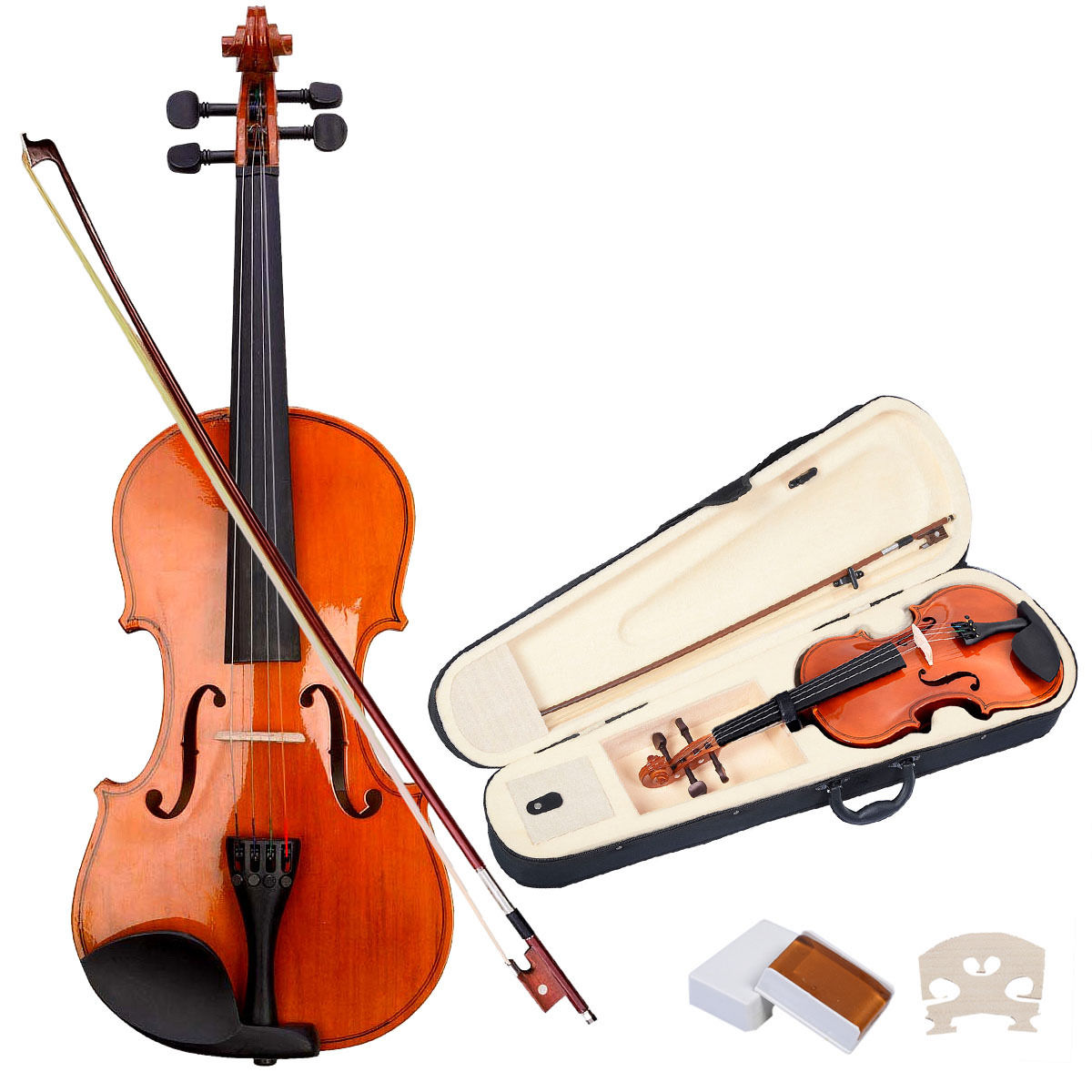 Costway Full Size 4 4 Natural Acoustic Violin Fiddle with Case Bow by Costway