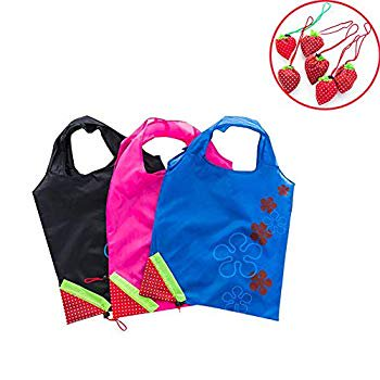 5 Pcs Reusable Foldable Extra Large Tote Shopping Bags Grocery Bags Washable Lightweight Waterproof Polyester Fabric Storage Shopping Bags for Groceries Shopping and Travel(Strawberry) 5 Pcs Reusable Foldable Extra Large Tote Shopping Bags Grocery Bags Washable Lightweight Waterproof Polyester Fabric Storage Shopping Bags for Groceries Shopping and Travel(Strawberry)5 pcs per order!Expanded size:51*37cm/20*14.6 inches(L*W),folding size:Strawberry;Color:Random.Material:Made of 100% Polyester fabric, can withstand daily wear and tear, you don't have to worry that the reusable tote bags will be going to rip from carrying too much. This cloth allow these grocery shopping totes are very easy to clean. Foldable and easy to carry: Each bag weighs only 26g, super lightweight! It?s only a strawberry size when folded,small enough to fit in your pocket, car center console, or even a purse.Widened and thickened hand strap, feel comfortable and not hurt your hands.Large capacity and Good weight bearing effect: Loadable for beverages, vegetables and fruits, supermarket shopping, grocery shopping,can hold up to 20lbs groceries, strong and durable.Environmental protection:Can be used over and over again. Can reduce carbon footprint and plastic usage, keep plastic out of landfills & oceans. More plastic bags being reduced, more animals being saved! To give Earth a green & healthy future, and live an eco-friendly life.
