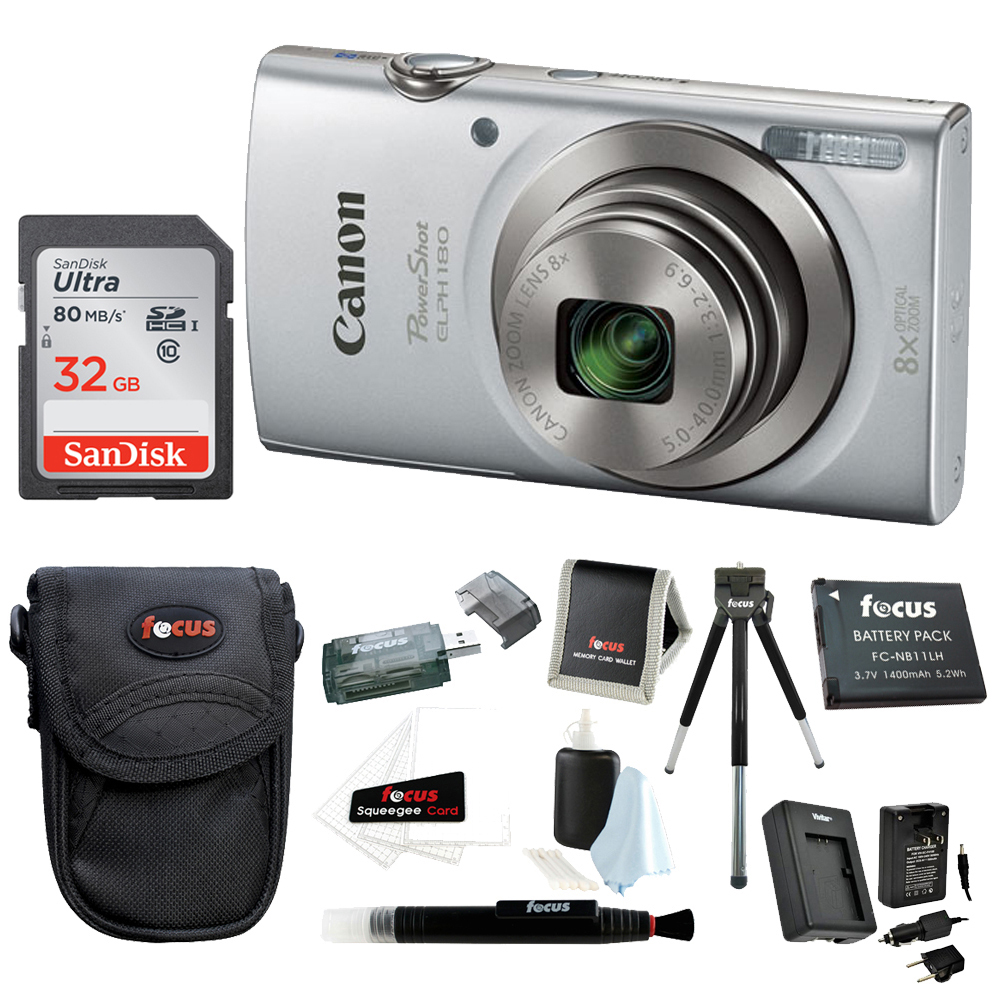 Canon PowerShot ELPH 180 Digital Camera (Silver) with 32GB Accessory Bundle