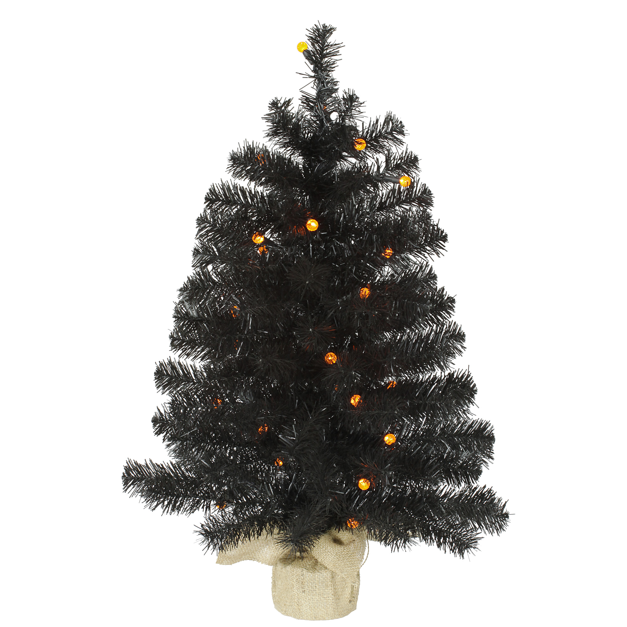 "Vickerman Artificial Christmas Tree 30"" Black Pine Tree G12 30 LED Orange Lights"