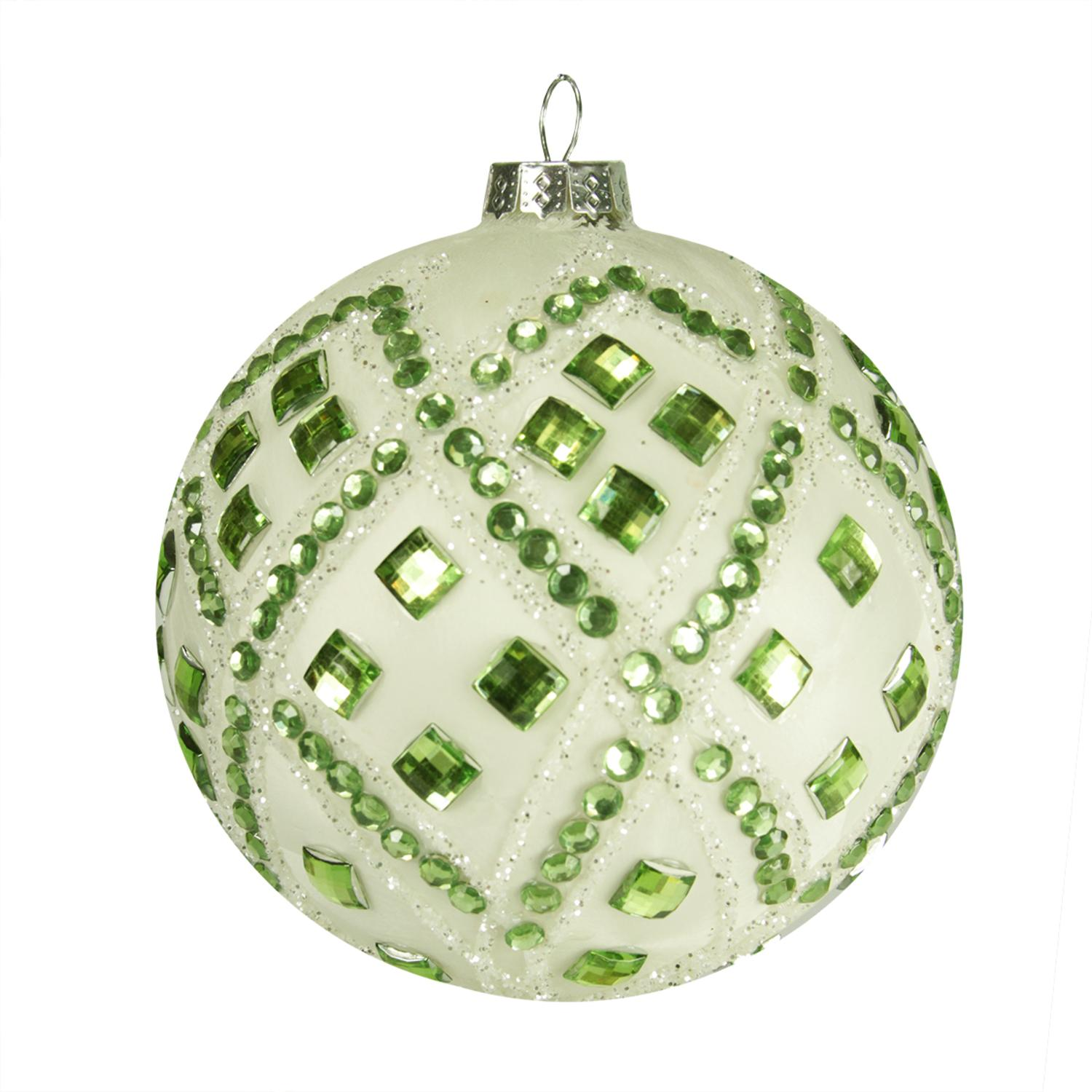 """4"""" Good Tidings Ivory with Pastel Green Gems Glass Ball Christmas Ornament"""