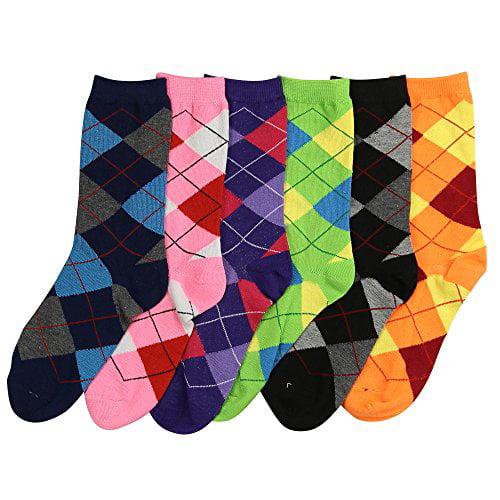 Womens Fun Colorful Crew Sock 6 Packs