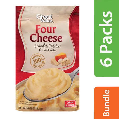 (6 Pack) Great Value Four Cheese Complete Potatoes, 4 oz](Halloween Potato Salad)