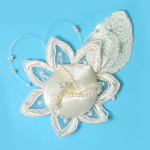 Expo Bridal Satin Flower Ornament Applique - BA6246IV