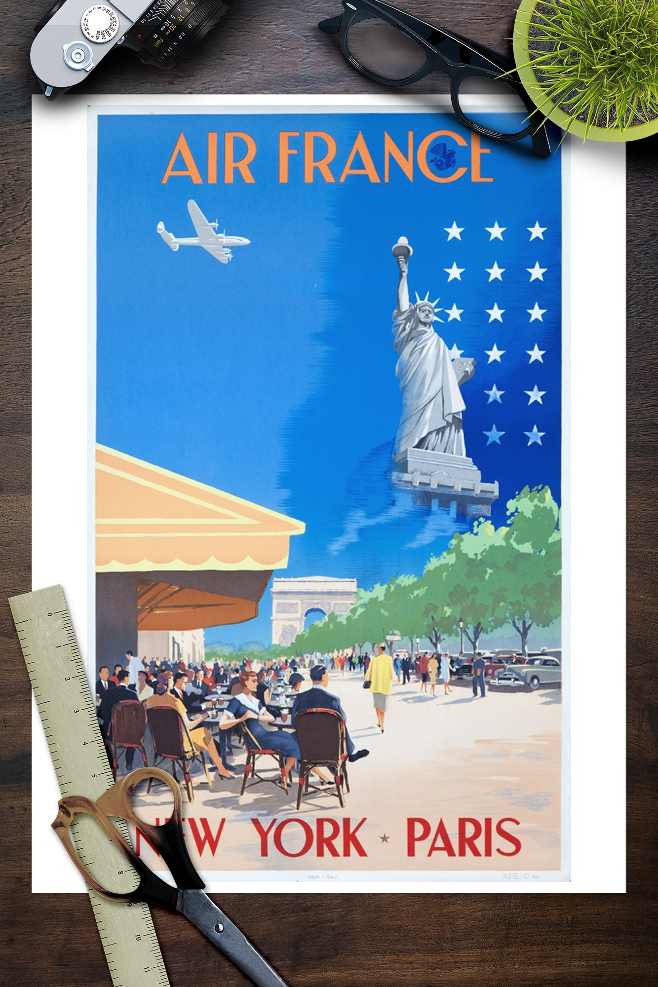Affiche AIR FRANCE Paris New York Guerra 1951