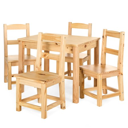 Best Choice Products 5-Piece Kids Toddlers Multipurpose Wooden Activity Table Furniture Set for Nursery, Bedroom, Play Room, Living Room, Classroom w/ 4 Chairs - Natural ()