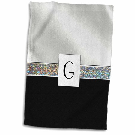 3dRose Print of Letter G on White Satin n Black With Jewel Band - Towel, 15 by 22-inch
