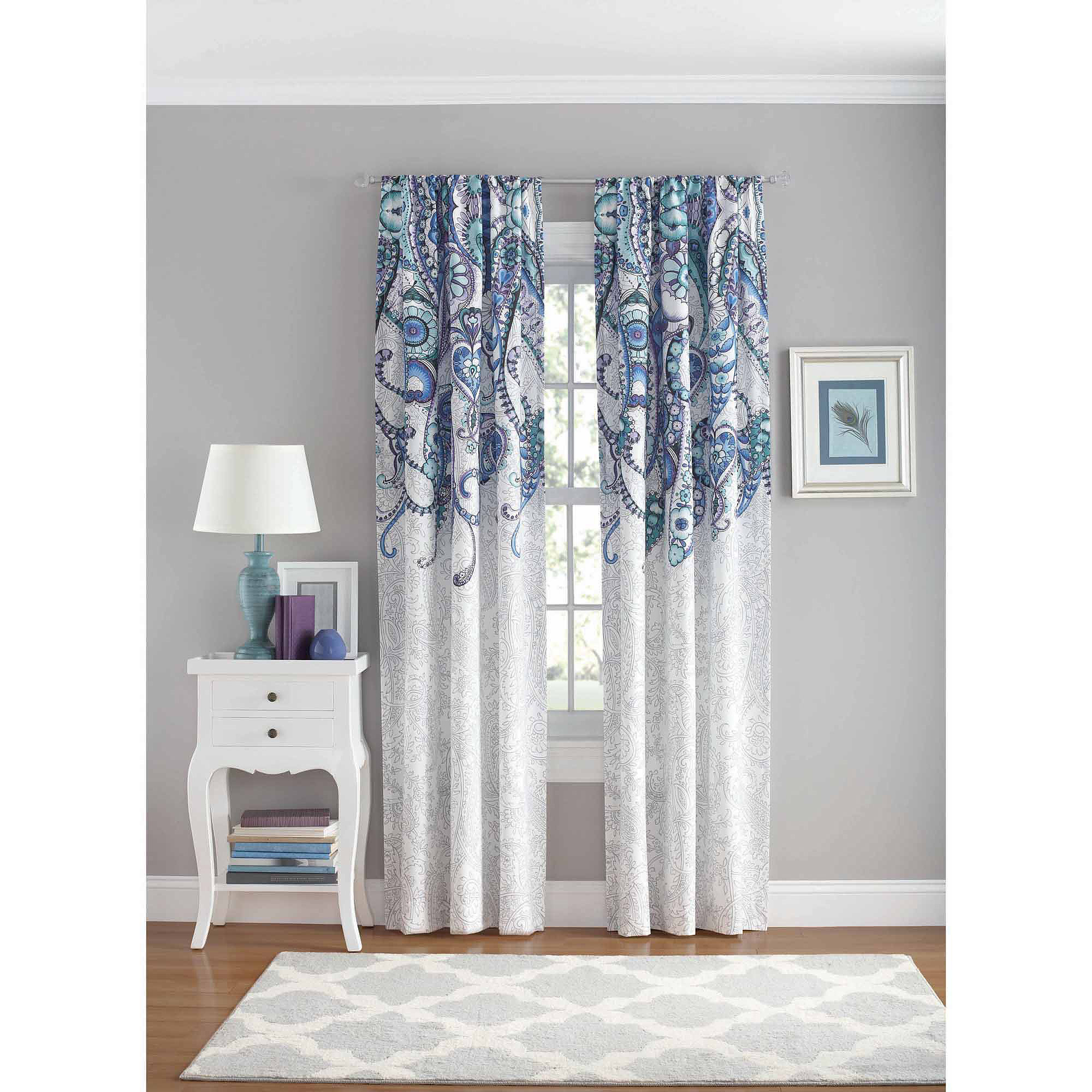 Walmart Curtains For Living Room Your Zone Paisley Bedroom Curtain Panel  Walmart