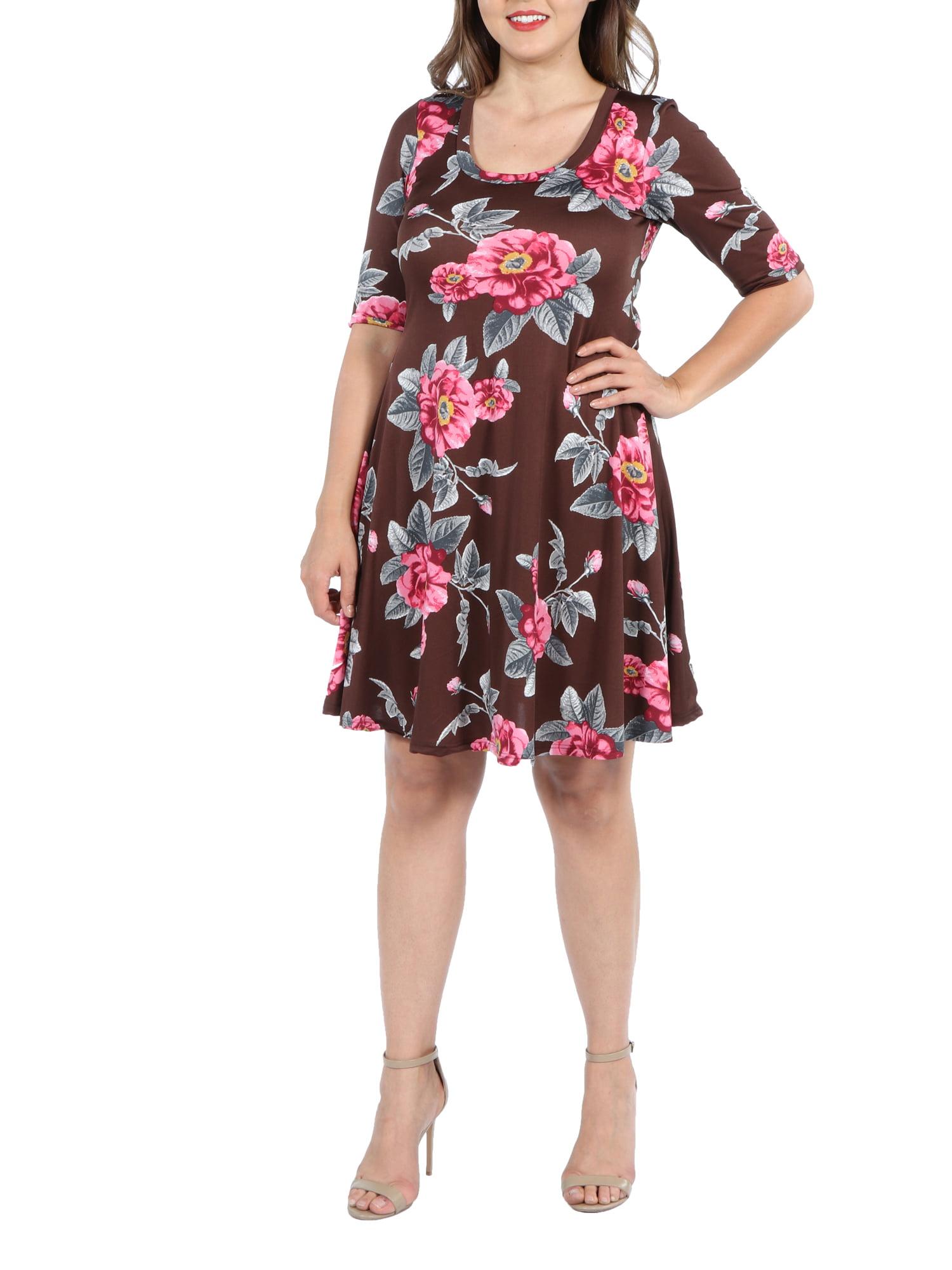 24Seven Comfort Apparel Gemma Brown Floral Plus Size Mini Dress