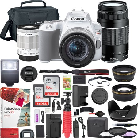 Canon EOS Rebel SL3 DSLR 4K Camera (White) with EF-S 18-55mm f/3.5-5.6 IS II and EF 75-300mm f/4-5.6 III Double Zoom Lens Kit and SanDisk Memory Cards 16GB 2 Pack Plus Triple Battery Accessory Bundle ()