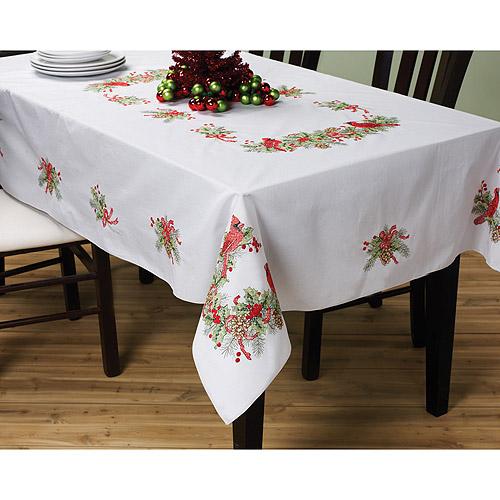 "Bucilla Cardinals Stamped Cross Stitch Tablecloth, 60"" x 104"""